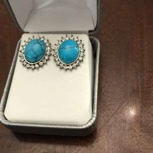Turquoise and CZ silver look earrings